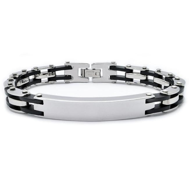 Stainless Steel and Rubber Bike Chain ID Bracelet