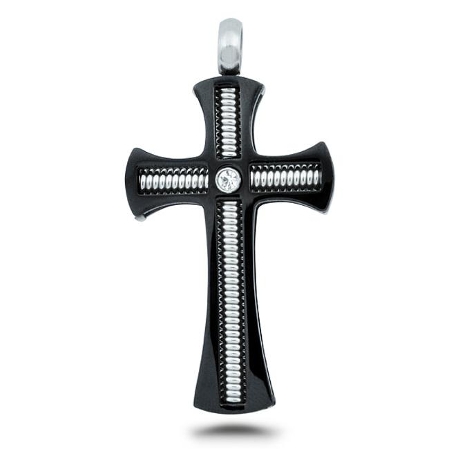 Stainless Steel Black Gothic Coil Cubic Zirconia Cross Pendant