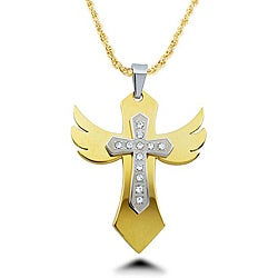 Two-tone Stainless Steel Cubic Zirconia Winged Cross Necklace