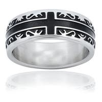 Stainless Steel Men's Black Inlay Cross Ring
