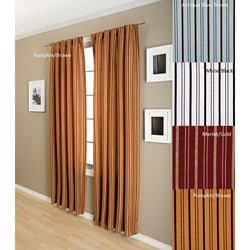 Lambrequin Zara Flocked Stripe Lined Rod 96-inch Pocket Panel
