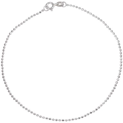 Roberto Martinez Silver 1.5 mm Diamond-Cut Bead Chain Anklet (9 Inch)