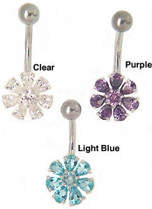 Carolina Glamour Collection Surgical Steel Jeweled Flower Barbell Belly Ring