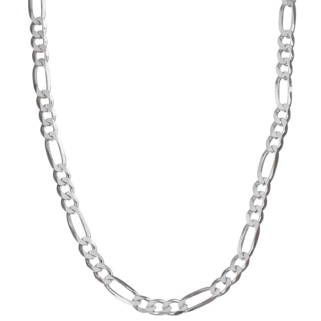 Sterling Essentials Sterling Silver 18-inch Diamond-cut Figaro Chain (4.5 mm)