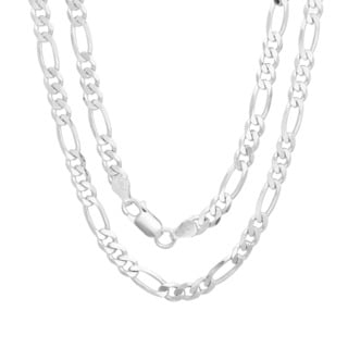 Sterling Essentials Sterling Silver 20-inch Diamond-cut Figaro Chain (5mm)