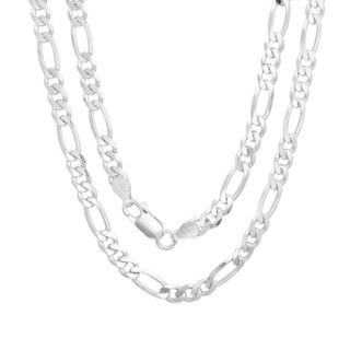 Sterling Silver Italian 5 mm Diamond-cut Figaro Chain (18-30 Inch) (5 options available)