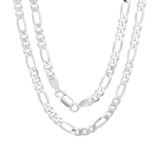 Sterling Silver Italian 5 mm Diamond-cut Figaro Chain (18-30 Inch)