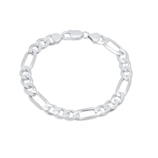 Sterling Silver 7-inch Diamond-cut Figaro Chain Bracelet (7.5mm)