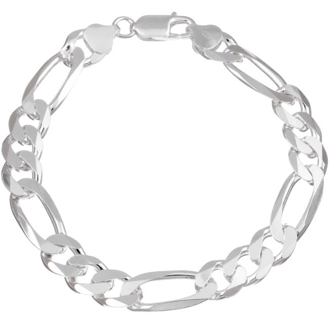 Sterling Essentials Italian Silver 9.5 mm Diamond-Cut Figaro Bracelet (8.5 Inch)