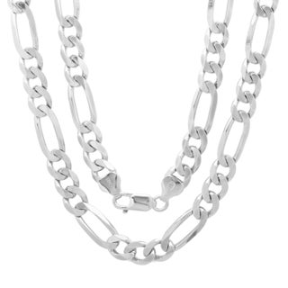 Sterling Silver Italian 7.5 mm Diamond-Cut Figaro Chain (22-30 Inch)