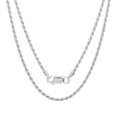 Sterling Essentials Italian Silver 1.5 mm Diamond-cut Rope Chain (16-30 Inch)