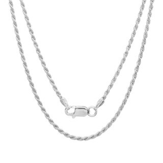 Sterling Silver 1.5 mm Italian Diamond-cut Rope Chain (16-30 Inch)