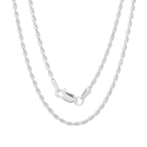 Roberto Martinez Sterling Silver 30-inch Diamond-Cut Rope Chain (1.8mm)