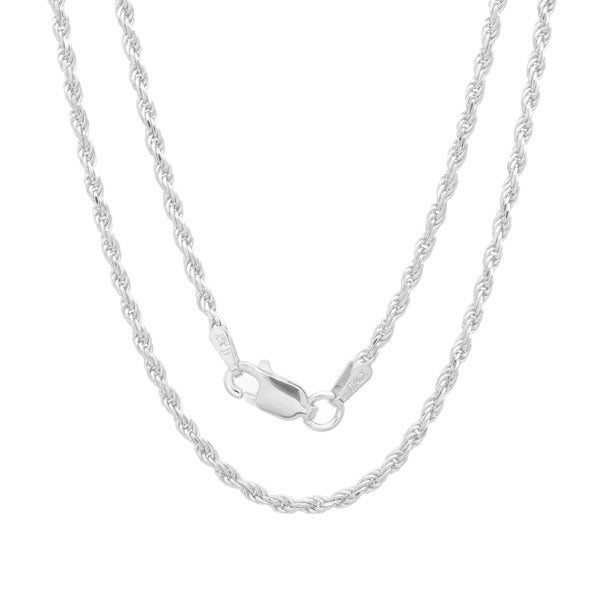 Sterling Essentials Sterling Silver 30-inch Diamond-Cut Rope Chain (1.8mm)