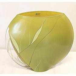 Hand-blown 11.9-inch Luscious Lime Glass Vase