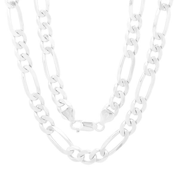 c4f3adeeeb Shop Italian Sterling Silver 7 mm Beveled Figaro Chain (18-30 Inch ...