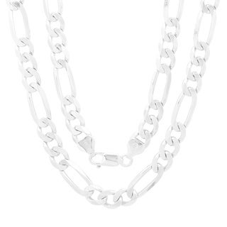 Italian Sterling Silver 7 mm Beveled Figaro Chain (18-30 Inch) (5 options available)