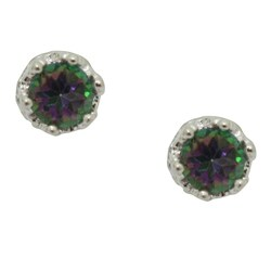 Junior Jewels Sterling Silver Mystic Green Topaz 4 mm Round Stud Earrings