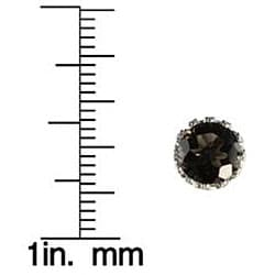 Gioelli Sterling Silver Smokey Quartz 8 mm Round Stud Earrings