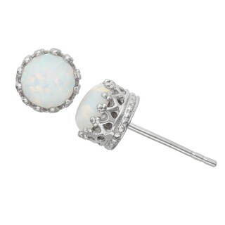 Gioelli Sterling Silver Crown-set Round Opal Stud Earrings