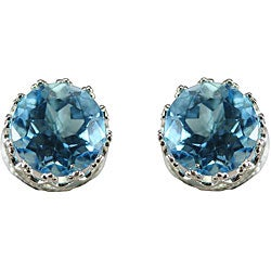 Gioelli Sterling Silver Blue Topaz 8 mm Round Stud Earrings