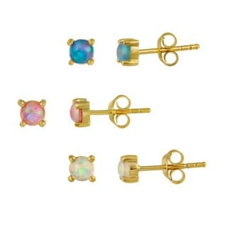 Glitzy Rocks 18k Gold over Sterling Silver Multicolor Opal Stud Set