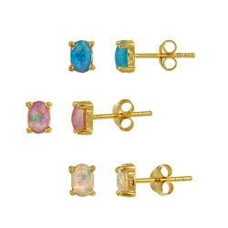 Glitzy Rocks 18k Gold over Sterling Silver Multicolor Opal Stud Set
