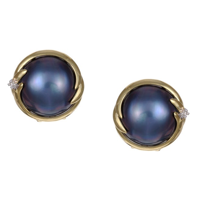 Kabella 14k Birthstone Gold Mabe Pearl And 1 10ct Tdw Diamond Earrings I