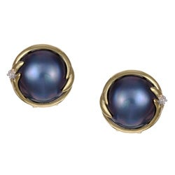 Kabella 14k Birthstone Gold Mabe Pearl and 1/10ct TDW Diamond Earrings (I, I3) (13 mm)