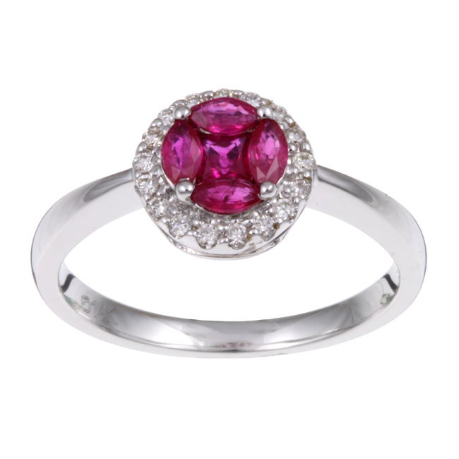 Kabella 14k White Gold Ruby and 1/10ct TDW Diamond Ring (K, I2)