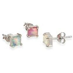 Glitzy Rocks Silver Multi-colored Created Opal Stud Earrings (Set of 3 Pair) - Thumbnail 1