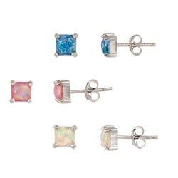 Glitzy Rocks Silver Multi-colored Created Opal Stud Earrings (Set of 3 Pair)