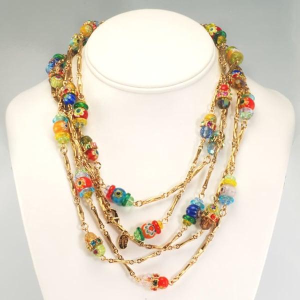 Sweet Romance 14k Gold Millefiori Candy Glass Bead Necklace