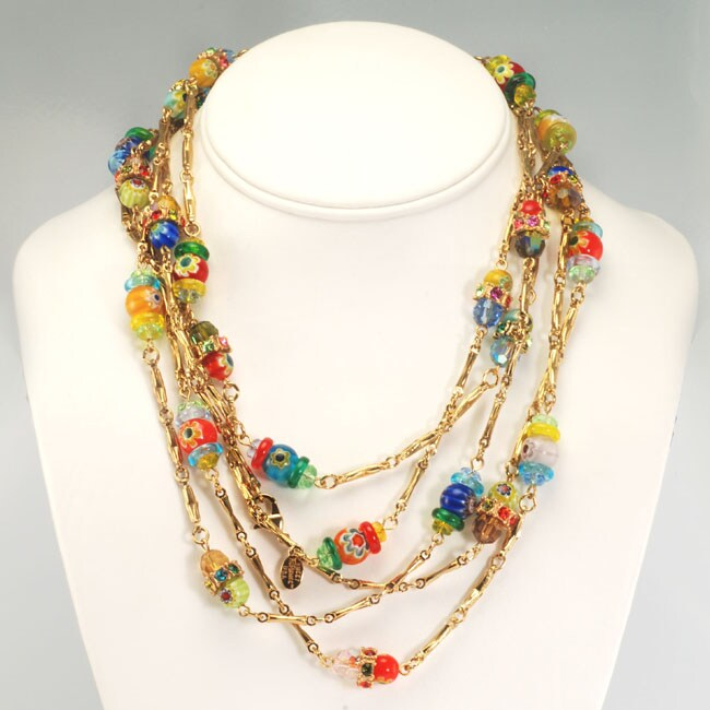 Sweet Romance 14k Gold Millefiori Candy Glass Bead Necklace