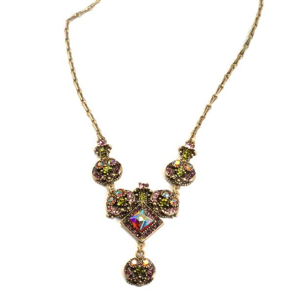 Sweet Romance Aurora Crystal  Retro Necklace