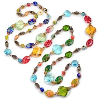 Sweet Romace Millefiori Beads and Gold Long Necklace