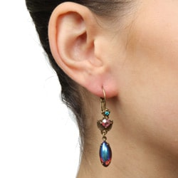 Sweet Romance Tropical Iridescent Glass and Crystal Earrings