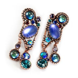 Sweet Romance Jellybean Glass Retro Blues Clip On Earrings