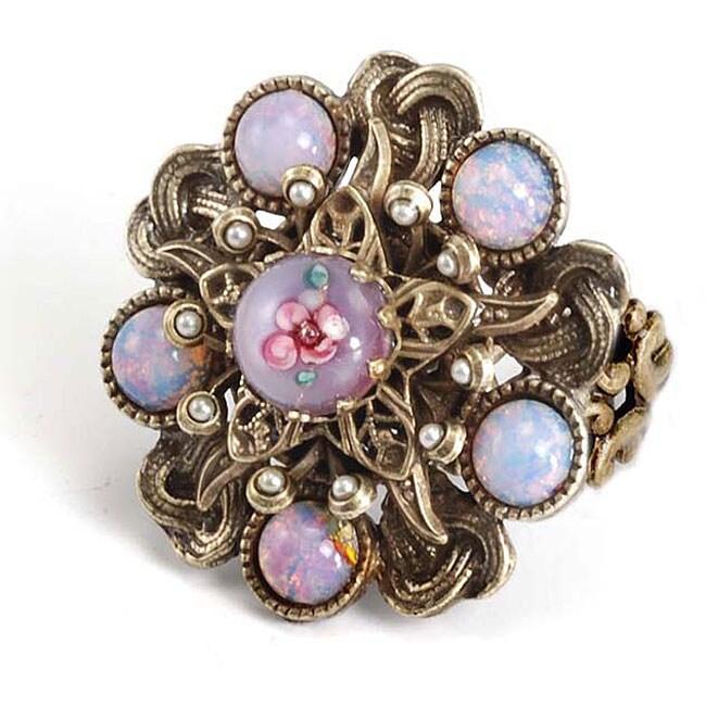 Sweet Romance Bohemian Art Glass Faux Pearl Ring