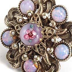 Sweet Romance Bohemian Art Glass Faux Pearl Ring - Thumbnail 1