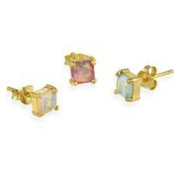 Glitzy Rocks 18k Gold over Sterling Silver Multicolor Opal Stud Set - Thumbnail 1