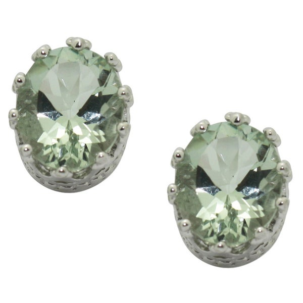 Gioelli Sterling Silver Oval Green Amethyst Stud Earrings