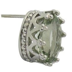 Gioelli Sterling Silver Oval Green Amethyst Stud Earrings