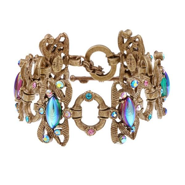 Sweet Romance 1950s Tropical Iridescent Glass Bracelet