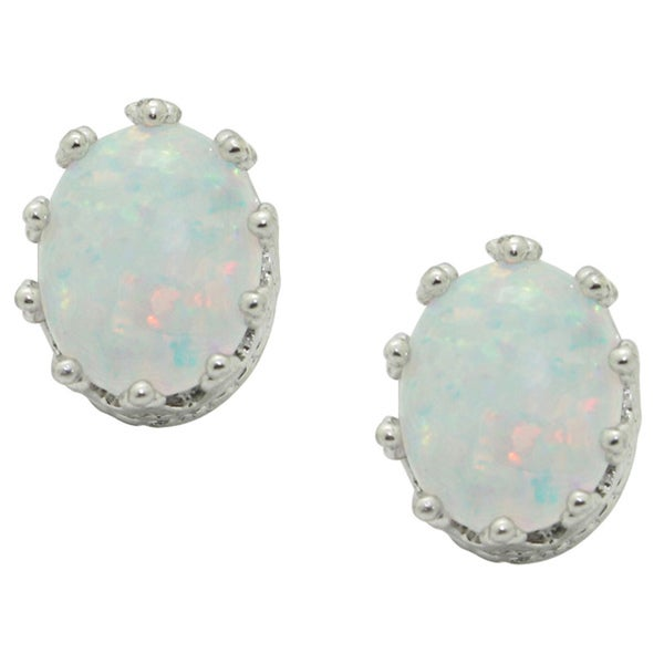 Gioelli Sterling Silver Oval Crown Setting Created Opal Stud Earrings