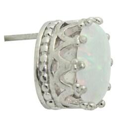 Gioelli Sterling Silver Oval Crown Setting Created Opal Stud Earrings - Thumbnail 1