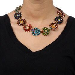 Sweet Romance Rainbow Crystal Caterpillar Necklace