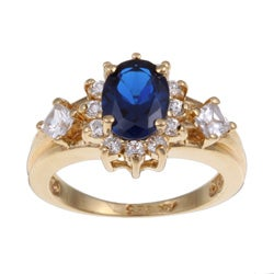 Sterling Essentials Gold Over Silver Blue And White Cubic Zirconia Ring (4 options available)