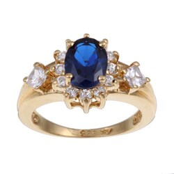 Sterling Essentials Gold Over Silver Blue And White Cubic Zirconia Ring
