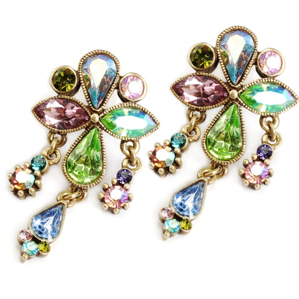 Sweet Romance Bronzetone Austrian Crystal Vintage Aurora Earrings